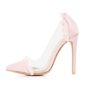 Charlotte Russe Heels Satin Clear D'orsay Pumps
